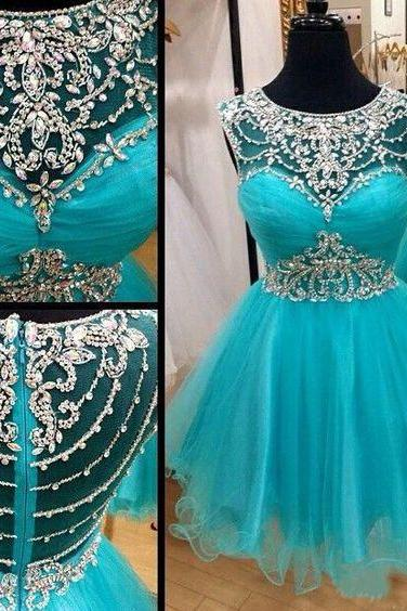 2016 Charming Prom Dress,Short Prom Dress,Blue Prom Dress,Tulle Prom Dresses
