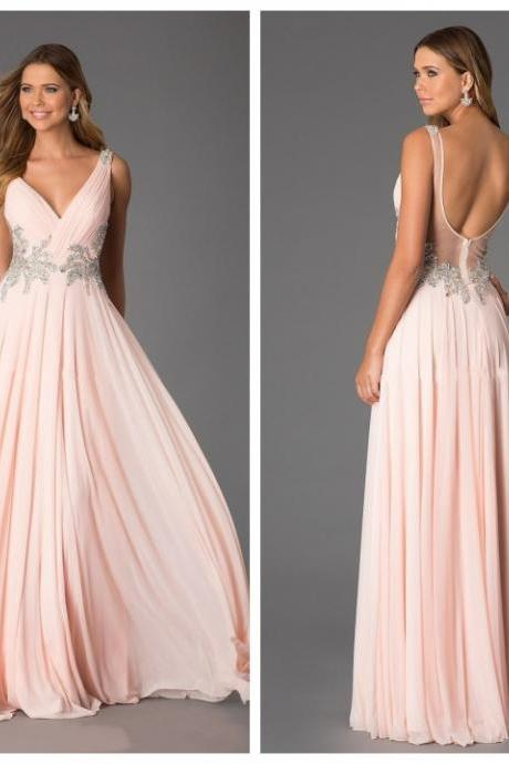 2016 Backless Prom Dresses, Sexy Prom Dress, Backless Prom Dresses, Chiffon Prom Dresses, 2015 Prom Dresses, Long Prom Dresses, Dresses For Prom