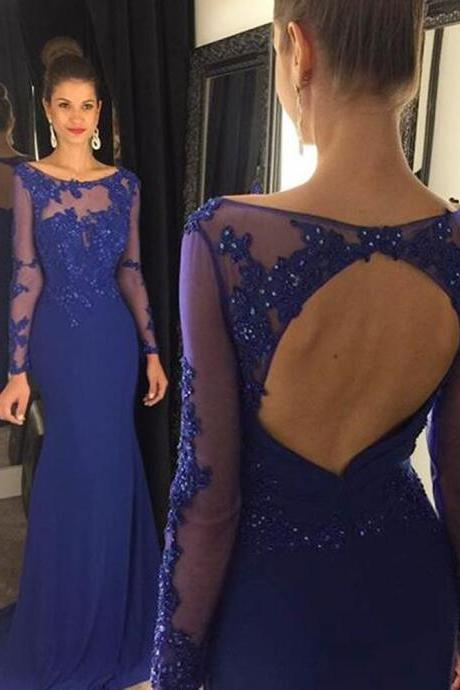 2016 Prom Dress,Navy Blue Mermaid Prom Dress,Sexy Backless Prom dresses,Custom Made Prom Dress,Long Prom Dresses,2016 Prom Dresses,Prom Dresses