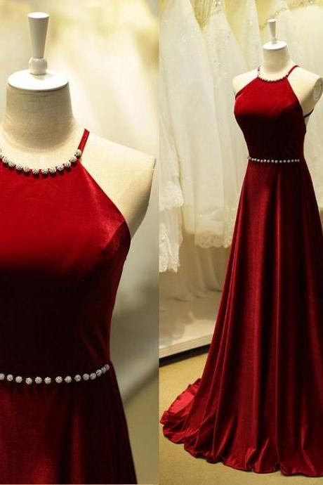 2016 Elegant Long Burgundy Prom Dresses Sexy Backless Evening Dresses 2016 Real Photo Women Party Dresses Formal Gowns
