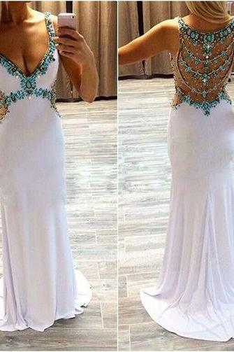 2016 Long prom dress, off shoulder prom dress, white prom dress, cheap prom dress, sexy prom dress, unique prom dress, available prom dress, modest prom dress