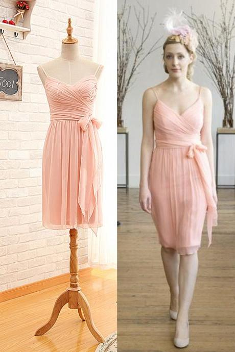 2016 Short Spaghetti Straps Blush Pink Bridesmaid Dress