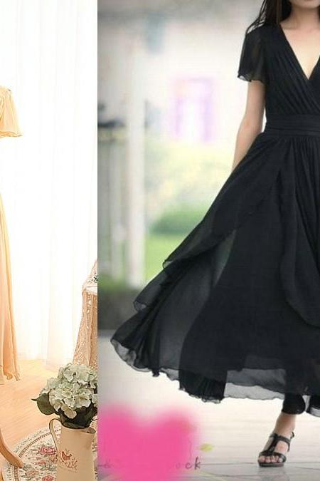 2016 Ankle Length Short Sleeves V-neckline Bridesmaid Dress