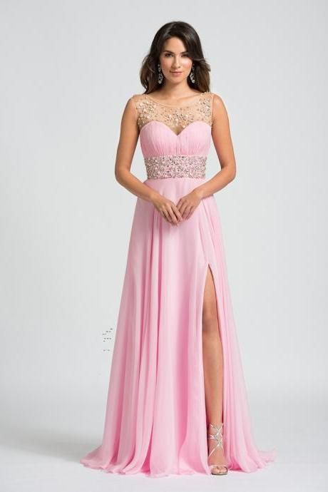 2016 Prom Dresses 2016 New Popular Pink Sleeveless Sexy Side Split A Line with Beaded Sequins Chiffon Party Dress for Graduation