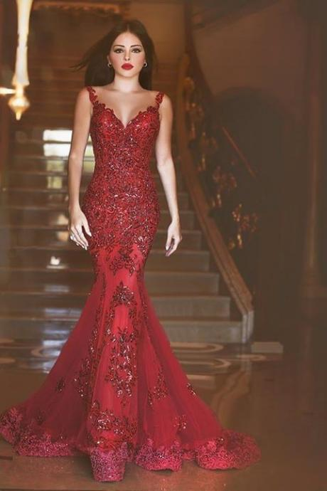 2016 Glamorous Red Long Evening Dress 2015 with See Through Sheer Tulle Back Sleeveless Mermaid Custom Made Plus Size Prom Gowns