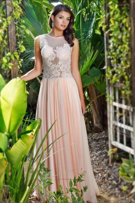 2016 Summer Hot Sexy Illusion Bodice Prom Dresses 2016 Sleeveless Lace Appliques Beading Floor-Length Chiffon A-Line Evening Dress