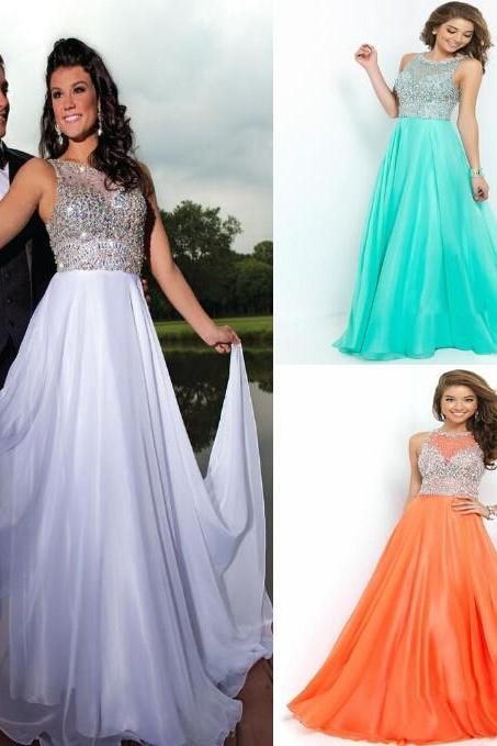 Glamourous Long A-line Chiffon Colorful Beaded tank Floor length Prom Dresses 2016 vestidos de festa Prom Gowns