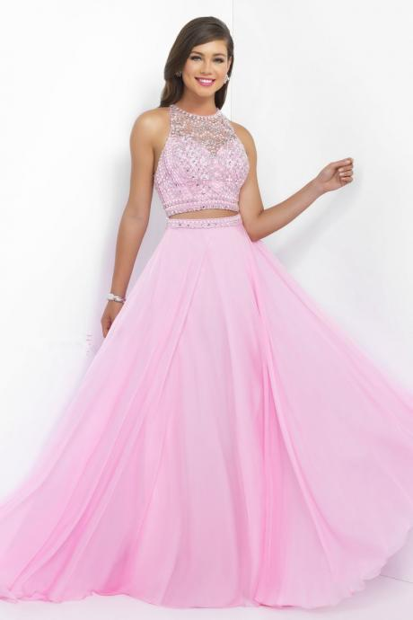 New Popular 2 piece Prom Dresses O Neck Sleeveless Criss-cross Back A Line with Beaded Sequins Chiffon