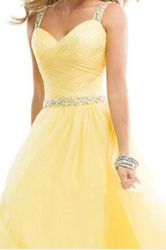 Long Elegant Prom Dresses 2016 Yellow Sleeveless A Line With Crystal Beaded Belt Cross Straps Floor Length Chiffon Evening Gowns
