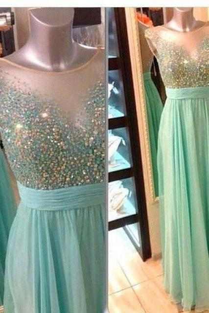DoDodress-Prom Dress,Mint Prom Dresses, A Line Prom Dresses, See Through Prom Dress,Sequined Prom Dress, Mint Evening Dresses,Evening Dress-2017
