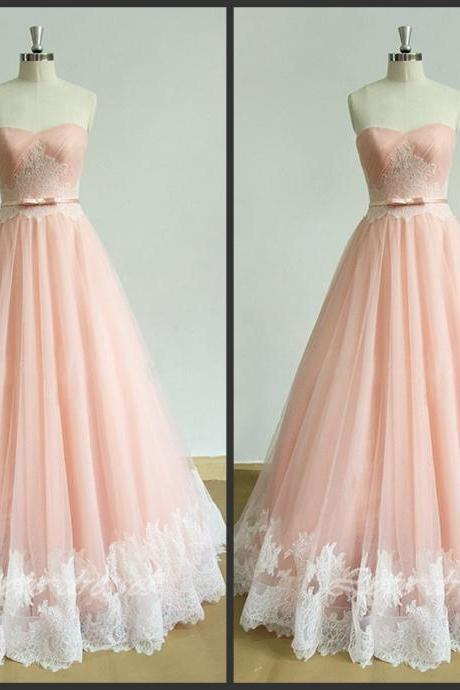 Sleeveless Sweetheart Ruched A-line Long Prom Dress, Evening Dress with Lace Appliqués
