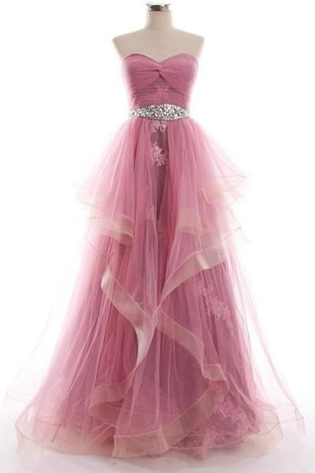 Pink Floor Length Ruffled Tulle Evening Dress Featuring Ruched Sweetheart Bodice