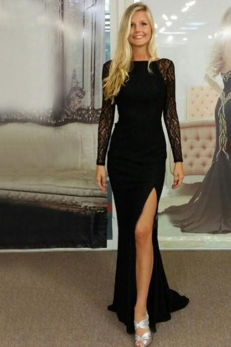 DoDodress-Prom Dress with Long Sleeves, Black Prom Dress, Chiffon Prom Dress,Sexy Prom Dress,Backless Prom Dress,Prom Gown,Black Evening Dress, Long Sleeves Evening Dress, Sexy Evening Dress, Cheap Prom Dress,Formal Dress, Homecoming Dresses, Graduation Dress, Party Dress,Evening Dress-2017