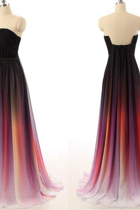 DoDodress-Pretty Chiffon Gradient Prom Dress, Gradient Prom Dresses, Prom Dresses 2016, Prom Gowns, Formal Gowns,Evening Dress-2017