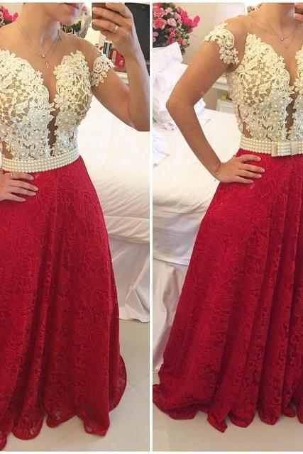 DoDodress-Elegant Ivory and Red Prom Dress with PearlsEvening Party Gown Lace Party Dress Beaded Prom Gown,Evening Dress-2017