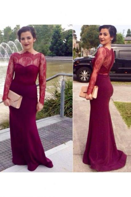 DoDodress-Long Prom Dress With Sleeves Chiffon Evening Dress Simple Burgundy Prom Dress Evening Party Dresse,Evening Dress-2017