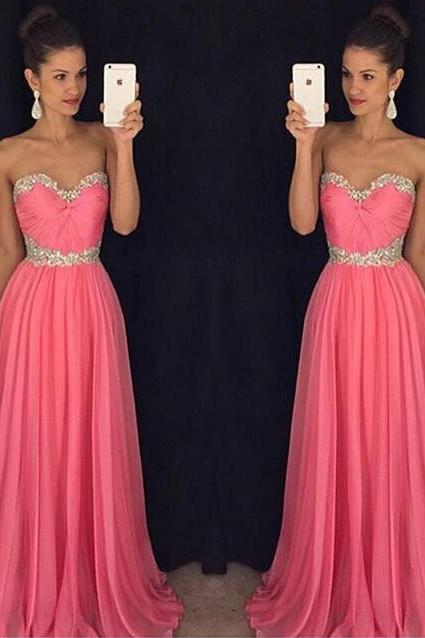 DoDodress-Long Dress For Prom Evening Party Chiffon Evening Dress Simple Pink Prom Dress Evening Party Dresses,Evening Dress-2017