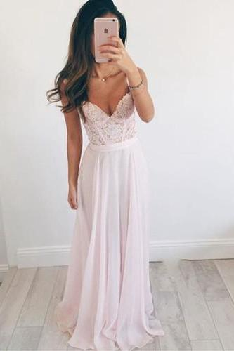 DoDodress-Elegant Pink Chiffon Prom Dress Evening Party Gown