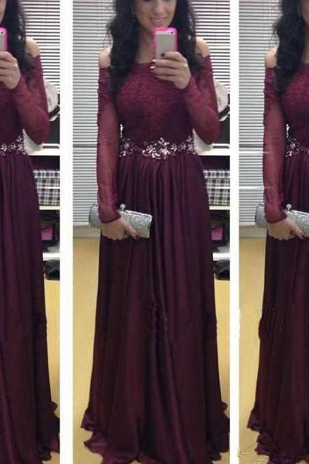 DoDodress-luxurious Long Prom Dress With Sleeves Chiffon Burgundy Prom Dress With Sleeves Evening Gown