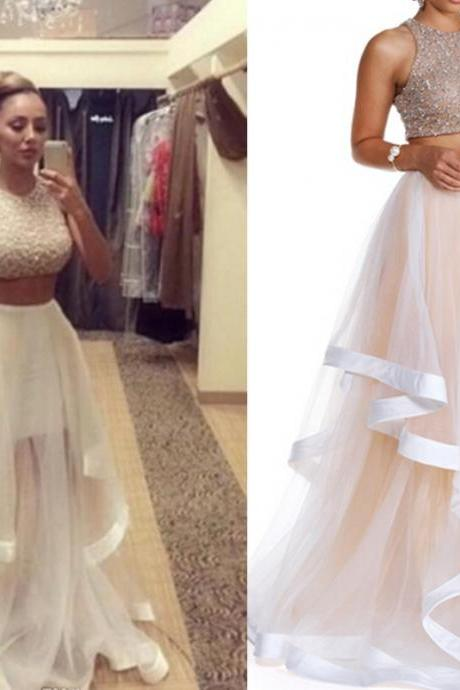 DoDodress- Champagne Prom Dress, Two Piece Prom Dresses, Long Prom Dress, Tulle Prom Gowns, Sexy Formal Dresses, Cheap Prom Gowns,Evening Dress-2017