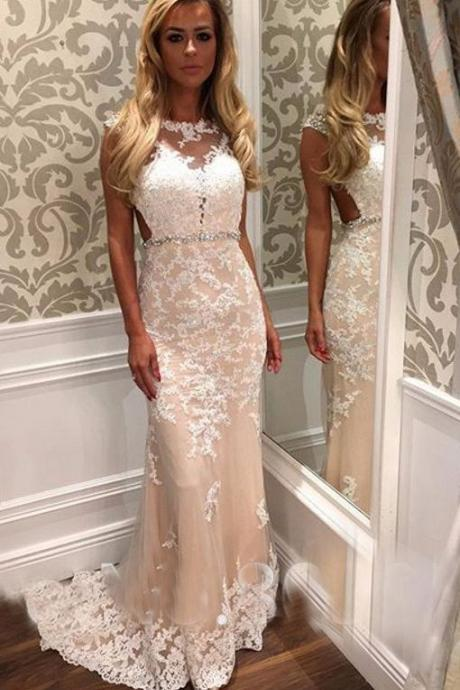 DoDodress- Floor Length Mermaid Style Champagne Prom Dress Lace Appliques Bateau Neckline Evening Dress,Evening Dress-2017