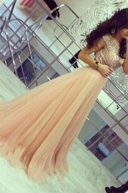 DoDodress-Elegant champagne tulle prom dress,A-line round neck beading long prom dress,evening dress,formal dresses,Evening Dress-2017