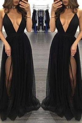 DoDodress-Black V-neck backless long prom dress,formal dresses,Evening Dress-2017