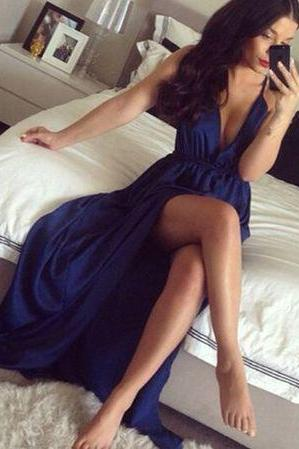 DoDodress-Pretty deep blue prom dress,A-line V-neck formal dress,evening dress,Evening Dress-2017