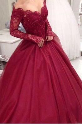 DoDodress-Custom made burgundy long sleeve prom dress,formal dress,Evening Dress-2017