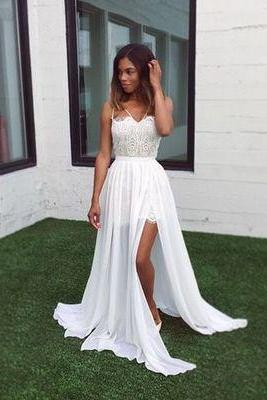 DoDodress-White A-line lace chiffon long prom dress,formal dress,Evening Dress-2017