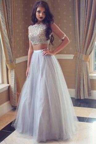 DoDodress-Grey prom dress,A-line two pieces evening gown ,formal dresses,Evening Dress-2017