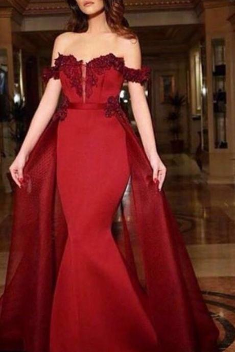 DoDodress-Sexy Red Sweetheart Mermaid Prom Dresses 2016 Applique Chiffon Sleeveless High Quality Formal Evening Dress Evening Dress-2017