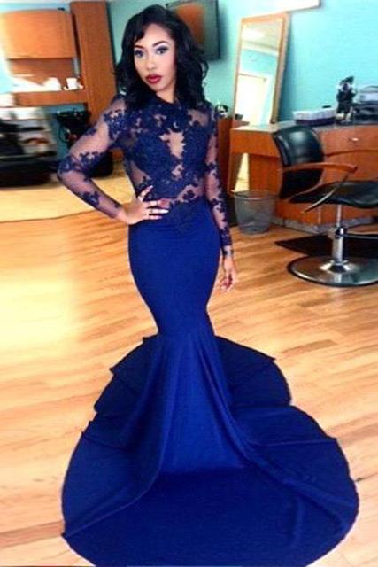 DoDodress-Long Sleeve Prom Dresses 2016 Gorgeous O-neck Top Lace Floor Length Stretch Satin Mermaid Royal Blue African Prom Dress Evening Dress-2017