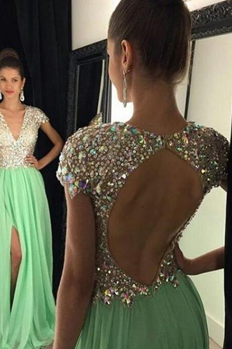 DoDodress-2 piece prom dresses 2016 New Popular Sexy Backless High Neck Sleeveless Sheath Chiffon Customize Evening Party Dresses Evening Dress-2017