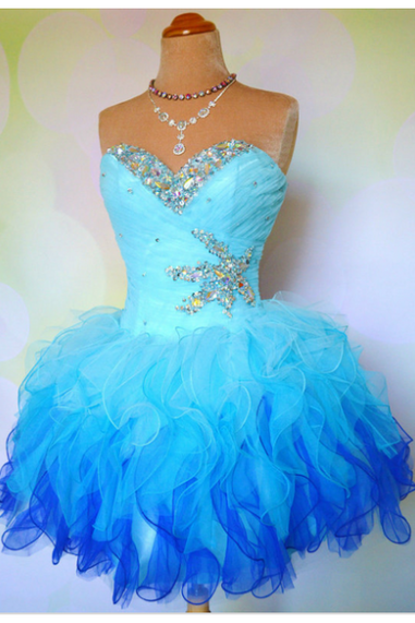 DoDoDresses Prom Dress Formal Dress Puffy Blue Sweetheart Short Organza Homecoming Cocktail Dress