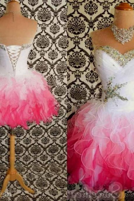 DoDoDresses 2016 Hot Sale Pink And White Cute Homecoming Dresses Ball Gowns Corset Tie Back Graduation Dress Short Prom Dress Cocktail Gowns