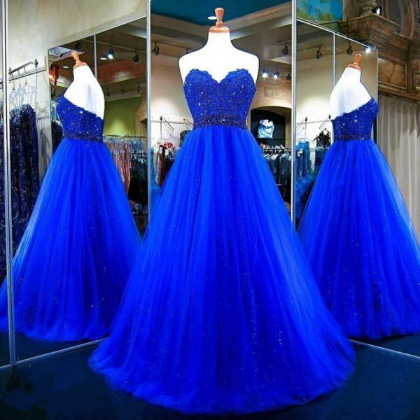 Long Prom Dress,Tulle Ball Gowns,Royal Blue Evening Dress,Sweetheart Prom Gowns,Top Lace Royal Blue Long Tulle Prom Dress,A Line Long Tulle Royal Blue Evening Dress