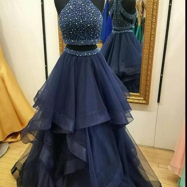 Dark Navy Halter Two Piece Prom Dress,A Line Formal Party Dress,High Neck Navy Blue Tulle Beading Prom Dress,Two Piece Long Beading Prom Dress,Sexy Two Piece Evening Dress,High Neck Two Piece Evening Dress