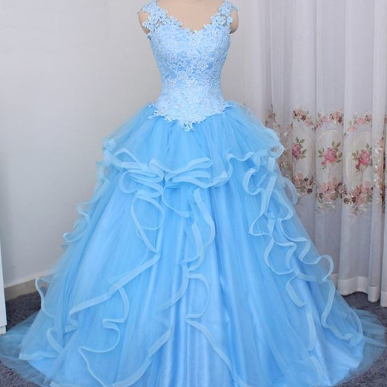 Gorgeous Blue Sweet 16 Dress 2019, Ball Gown Blue prom Dress