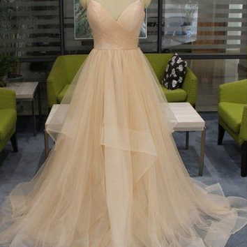Champagne Tulle Spaghetti Long Open Back Ruffles Prom Dress