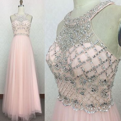 Halter Long Chiffon Prom Dresses with Rhinestone