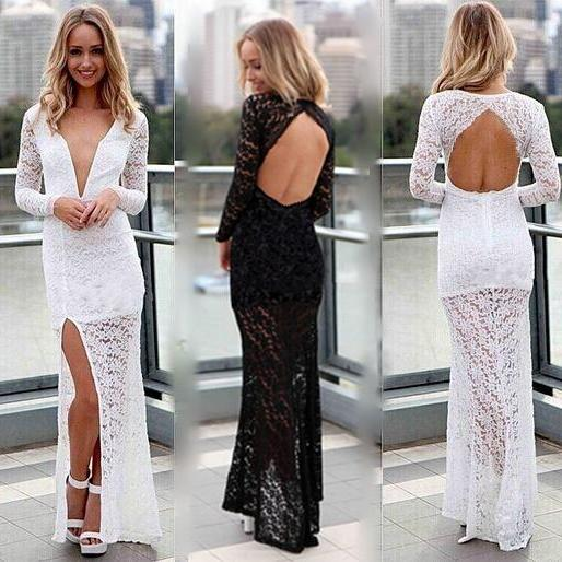 Sexy Club dress 2015 New Arrival Long Sleeve Black/White Lace Floor Length Evening Dress Bodycon Backless Party Dress