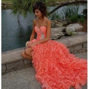 Sexy Orange Ball Gown Sweetheart High-low Asymmetrical Prom Dress,Party Gown Hot