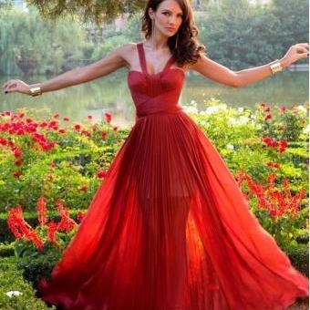 Beautiful A-line Red Chiffon 2015 Spring Long Prom Dresses