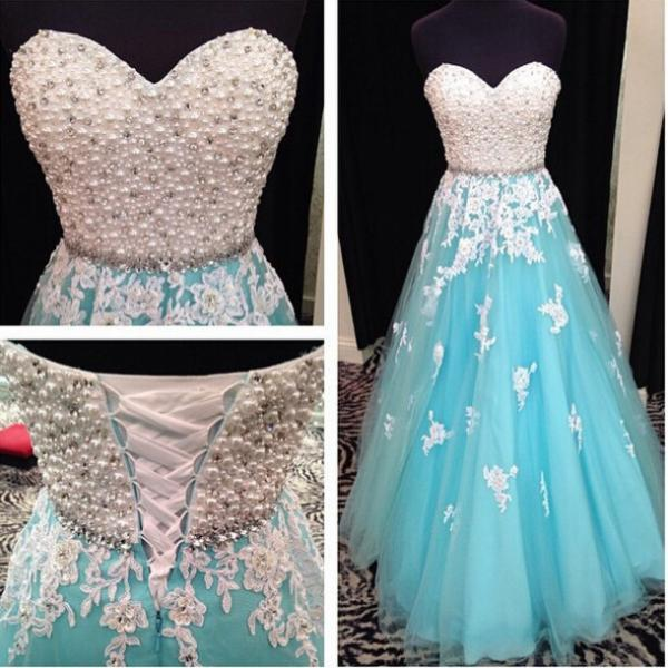 Hot Sale Strapless Sweetheart Neck A-line Floor Length Blue Tulle ans White Applique Evening Dress,Prom Dress