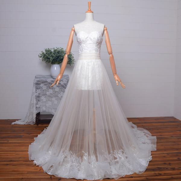 Popular Sweetheart Beaded Applique Short Wedding Dress with Long Detachable Tulle Skirt