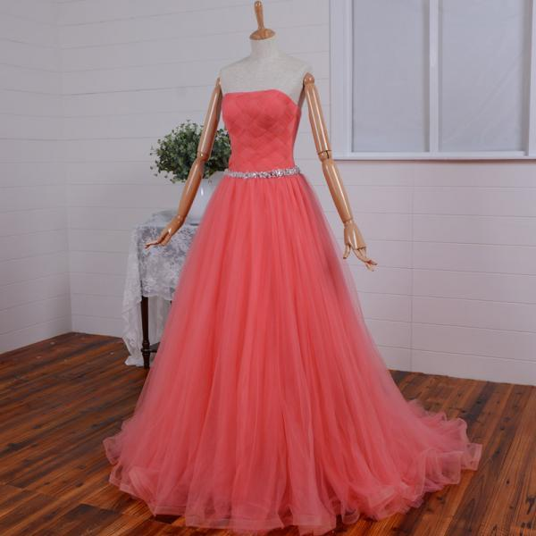 Best Selling Watermelon Red Sash Beaded sweetheart long Prom dress/formal dress/prom dresses 2015/party dress/Tulle A-Line Long Dress