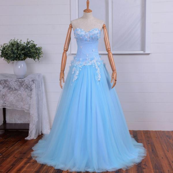 Sky Blue Sweetheart Long Prom Dress Fashion Bridesmaid Dress/New Years Dress Wedding Party/Hot Party Dress Homecoming/Evening Dress
