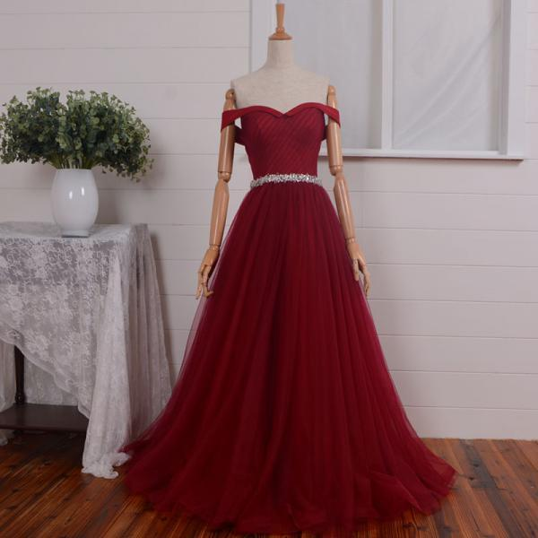 Burgundy sweetheart empire A-line Sash beaded long prom dresses ,tulle floor length ball gown silver rhinestones,gorgeous formal dress