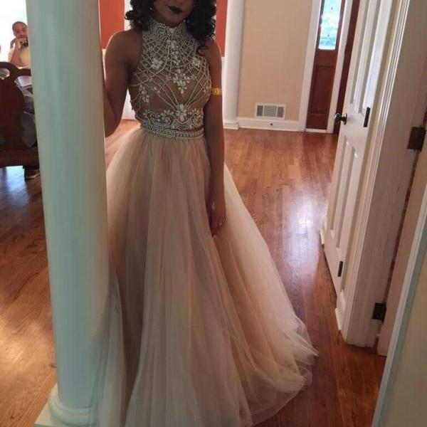 2016 Charming Prom Dress,Tulle Prom Dress,A-Line Prom Dress,High-Neck Prom Dress,Beading Prom Dress,Noble Prom Dress